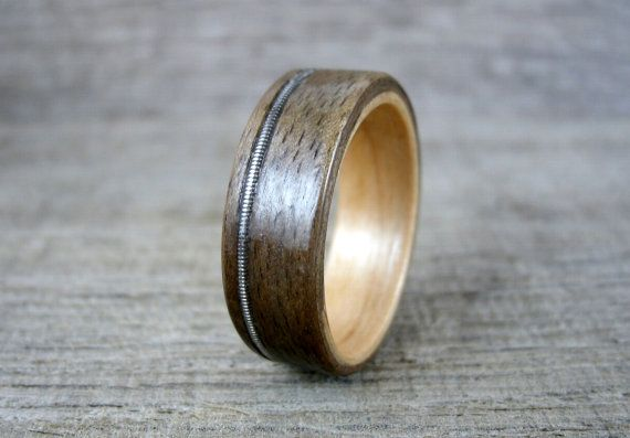 guitar string ring wood inlay ring walnut and fireland cherry wood ring bentwood ring wood. Black Bedroom Furniture Sets. Home Design Ideas