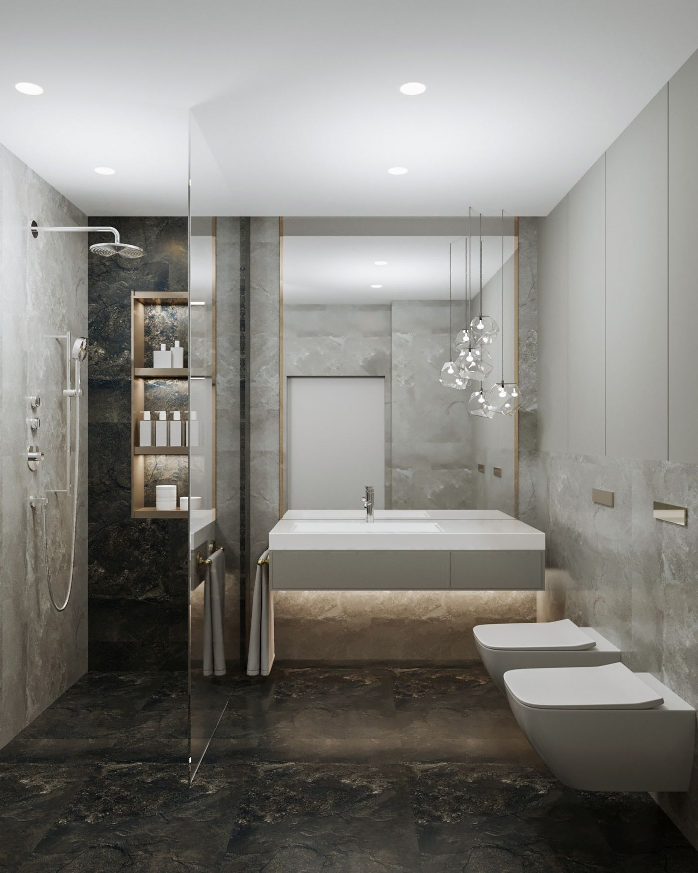Moderne Kleine Badezimmer Und Bilder Vom Granitboden Und Marmorwande Und Indirekte Beleuchtung Moderne Badezimmerideen Moderne Bader Badgestaltung