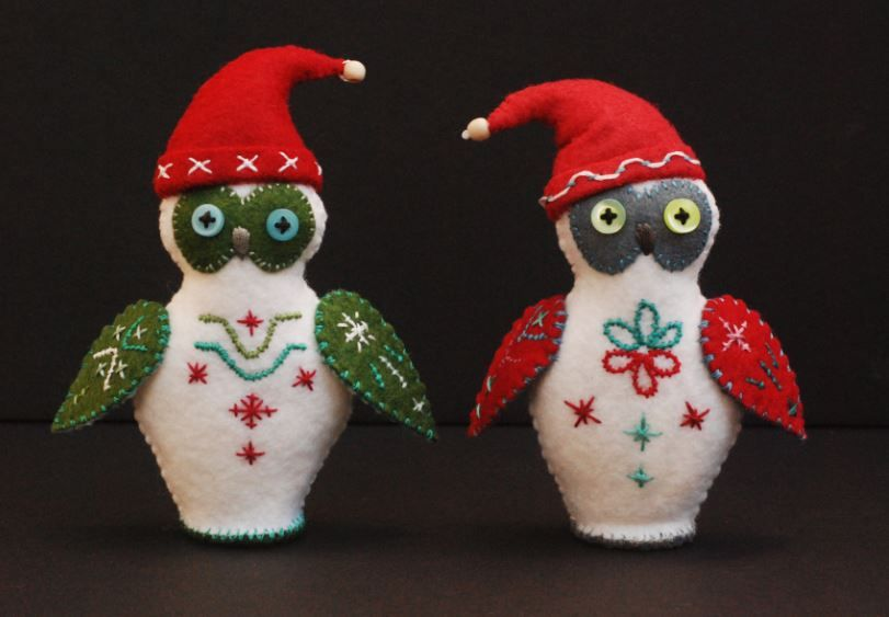"""Elf Owls"" - by Ulla Anobile - hand stitched felt, embroidery floss, polyfill, buttons, $46 each - OWL ON LEFT SOLD - OWL ON RIGHT IS AVAILABLE"
