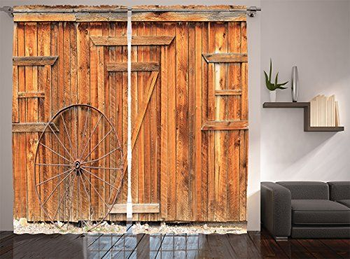 Ambesonne Western Decor Collection Ancient West Rural Town Rustic Weathered Wooden Door And Vintag Primitive Bathrooms Living Room Sliding Doors Western Decor