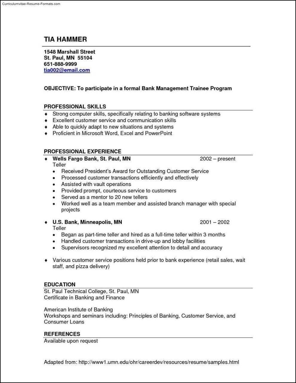 Resume For Bank Tellers Excellent Bank Teller Resume Sample