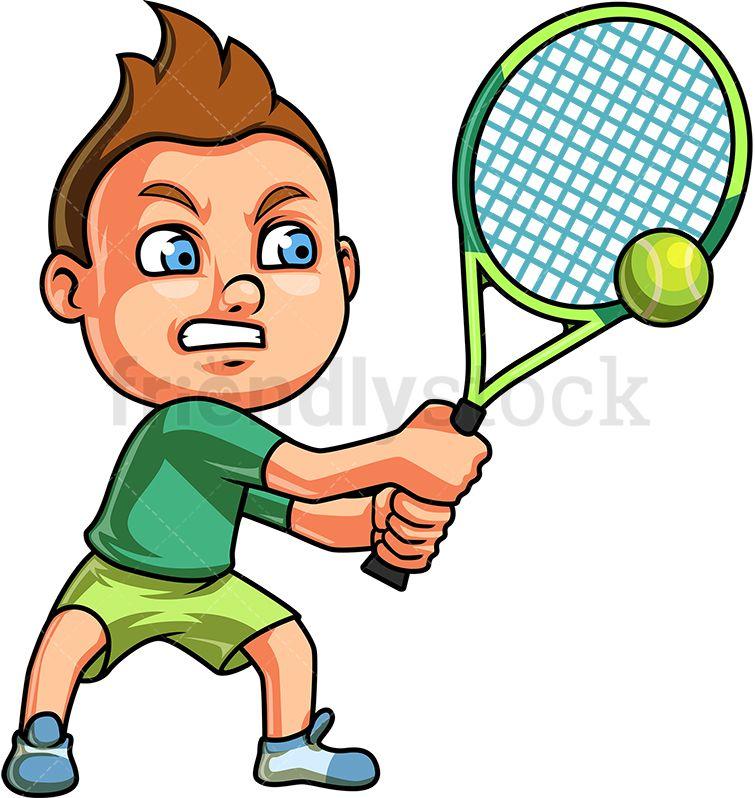 Little Boy Playing Tennis Cartoon Clipart Vector Friendlystock Cartoon Clip Art Sports Art Kids Playing