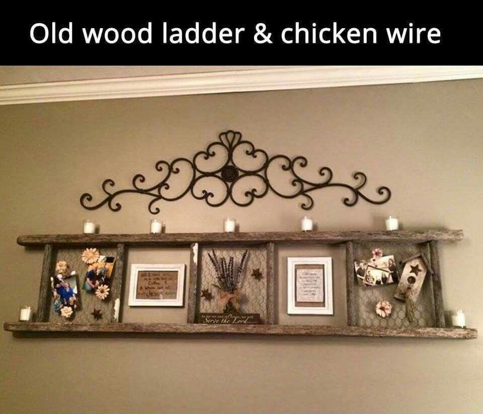 Ladder fun neat ideas pinterest chicken wire wood ladder and