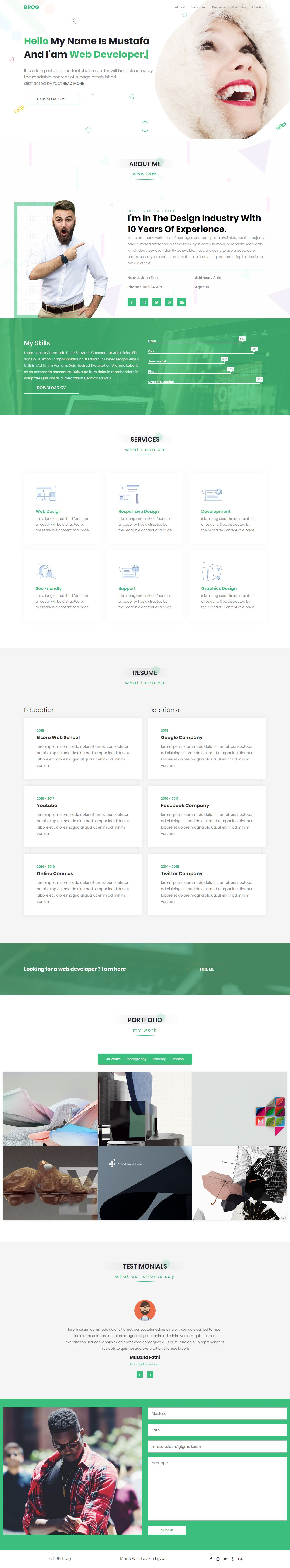 BROG Creative vCard Template (With images) Html website