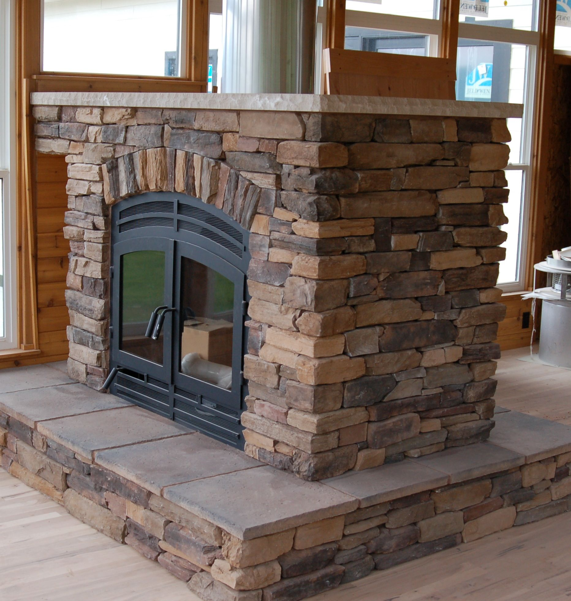 Hearthroom 36 Two Sided Fireplace Zero Clearance Wood Burning Indoor Outdoor Fireplaces See Through Fireplace Stone Fireplace Designs