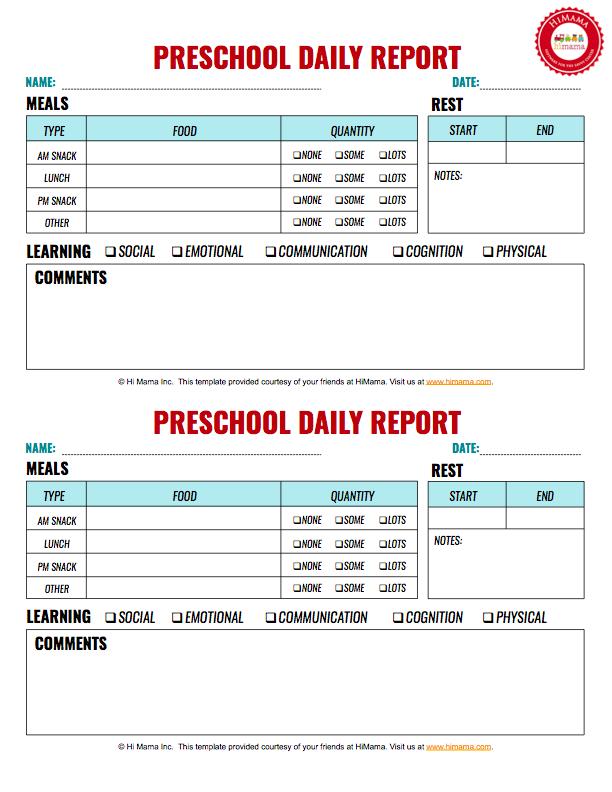 Preschool Daily Report 2 Per Page More