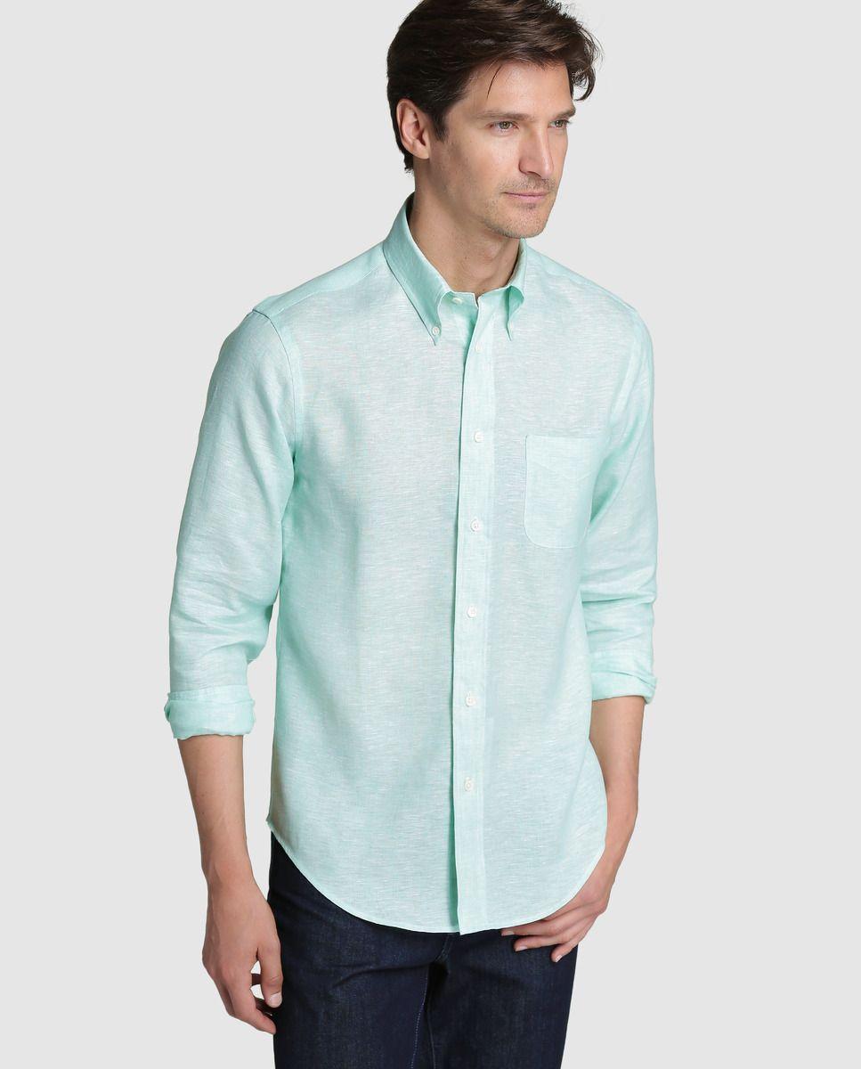 8b038e0054 Camisa Regent de hombre Brooks Brothers slim de lino lisa verde · Brooks  Brothers · Moda · El Corte Inglés