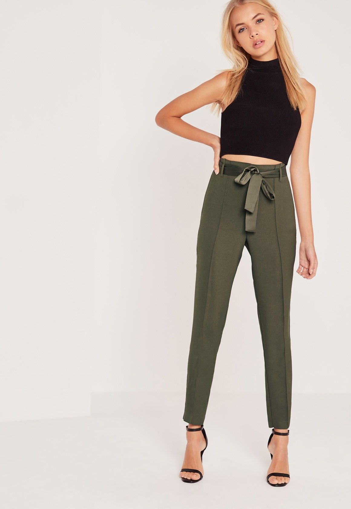 51bb4b0a3f0 Missguided - Tie Waist Seamed Front Cigarette Trousers Khaki