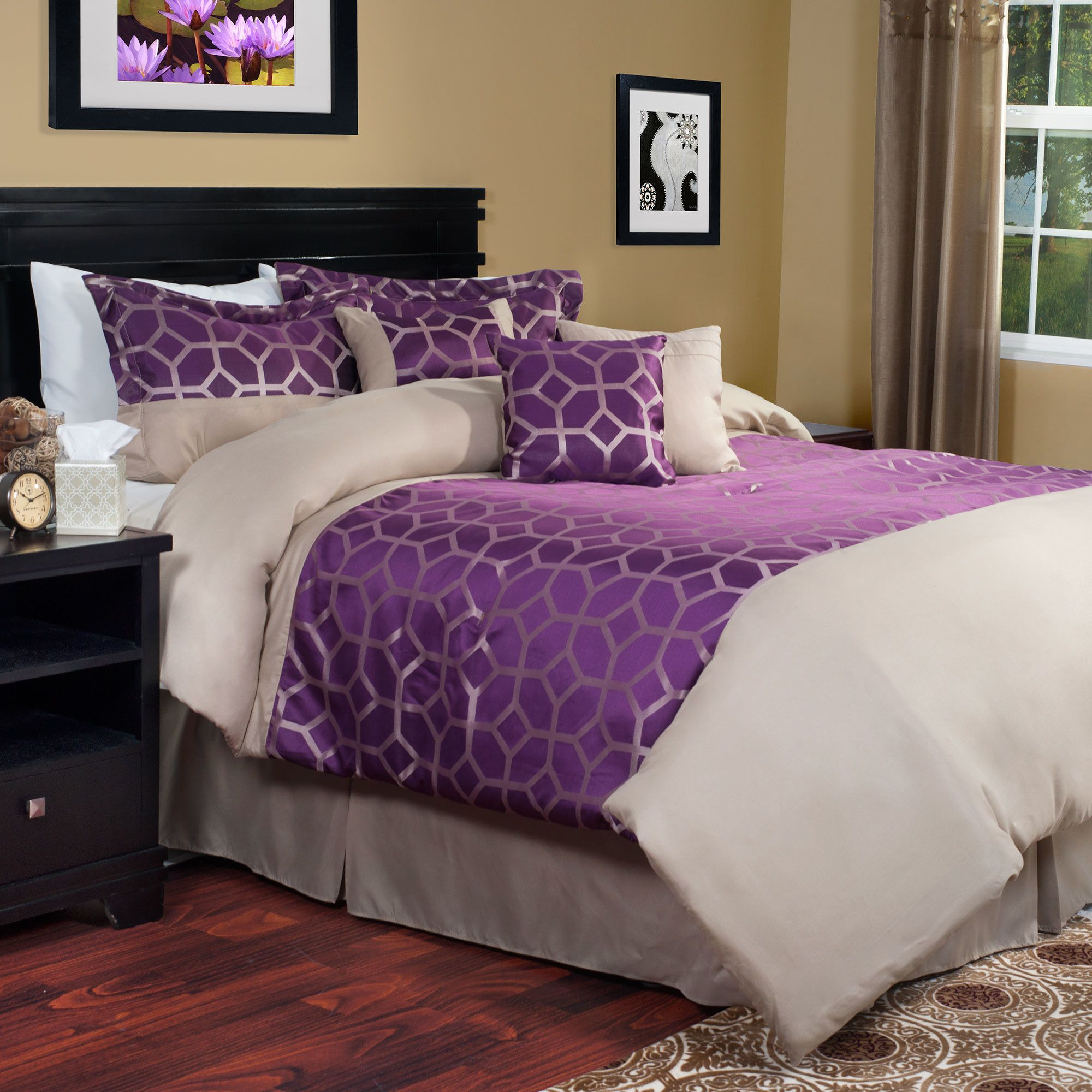 This purple and gold geometric print bedding set has a Moroccan