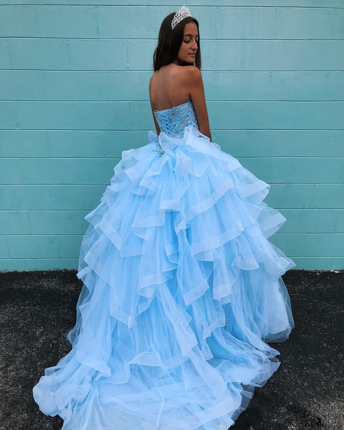 Marvelous Light Blue Beadings Ball Gown Sweet 16 Dresses   Tiered Quinceanera Dresses Long - Sweet 16 dresses, Quinceanera dresses, Ball gowns, Quince dresses, Light blue dresses, Prom dresses ball gown - Yesbabyonline com has a great collection of SleevelessSweetheartQuinceanera dresses at an affordable price  Welcome to buy high quality Quinceanera dresses from us