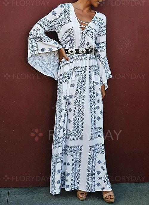 White Polyester Sonstige Lange 196rmel Maxi Kleider 1010820