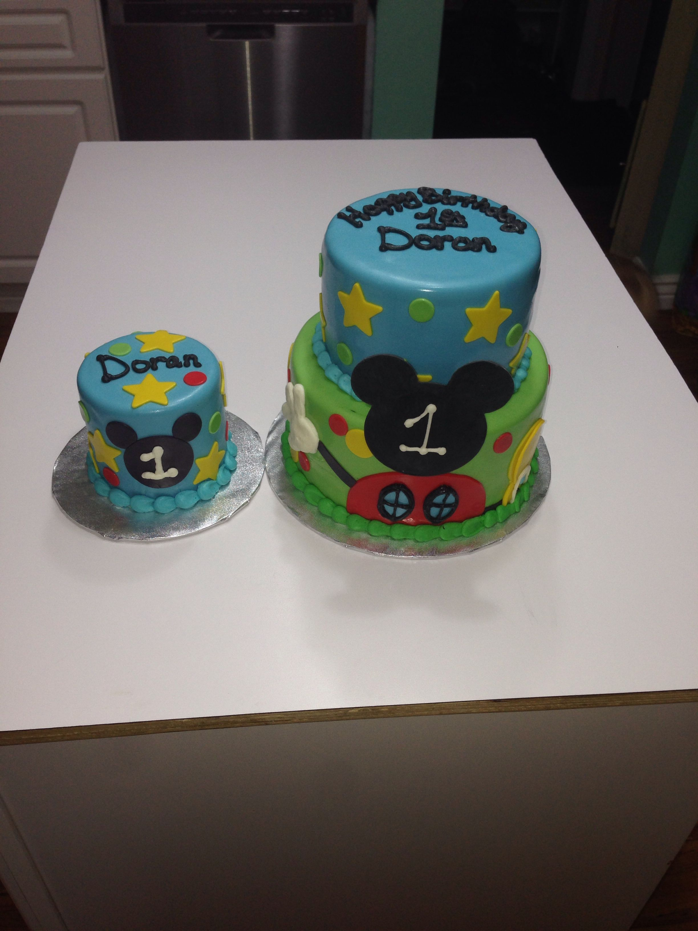 Mickey Mouse Club House Birthday Cake With Matching Smash Cake By