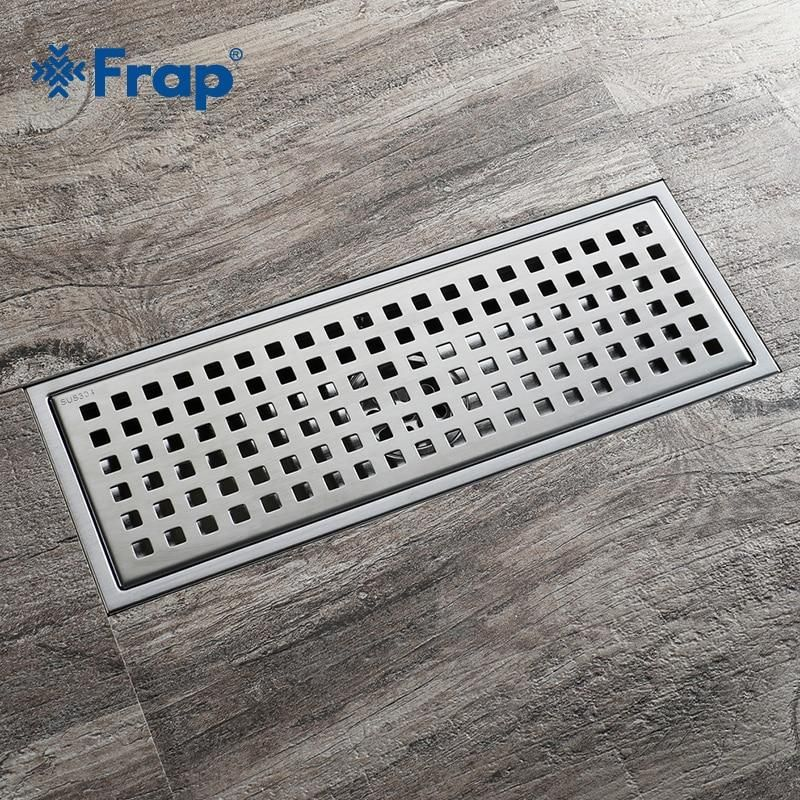 Frap Simple Grid Floor Drain 30 11 Stainless Steel Large Flow Drainer Square Shower Drain Waste Grate With Hair Strainer Y38092 Floor Drains