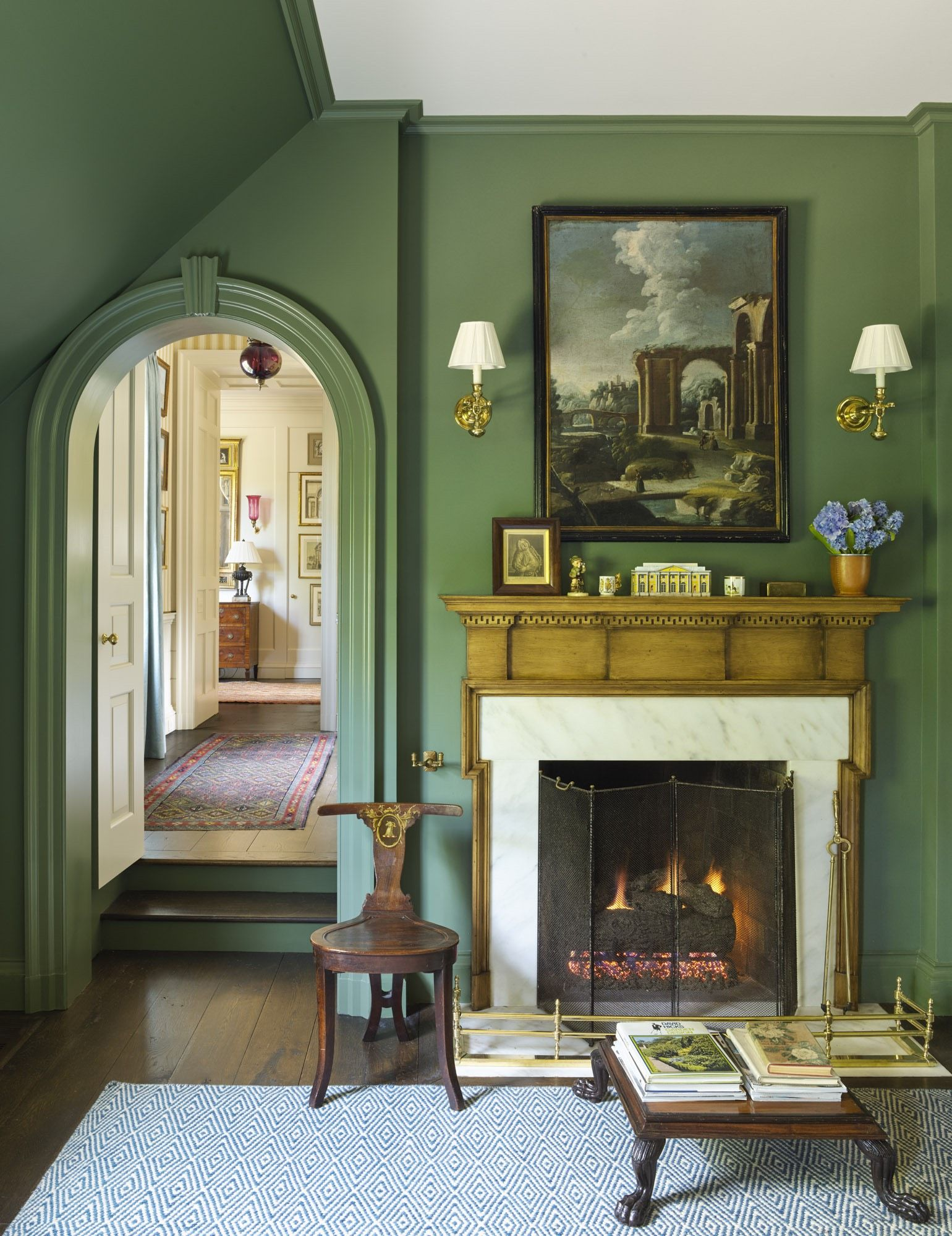 Grass Green With Antique Mantel And White Surround Traditi