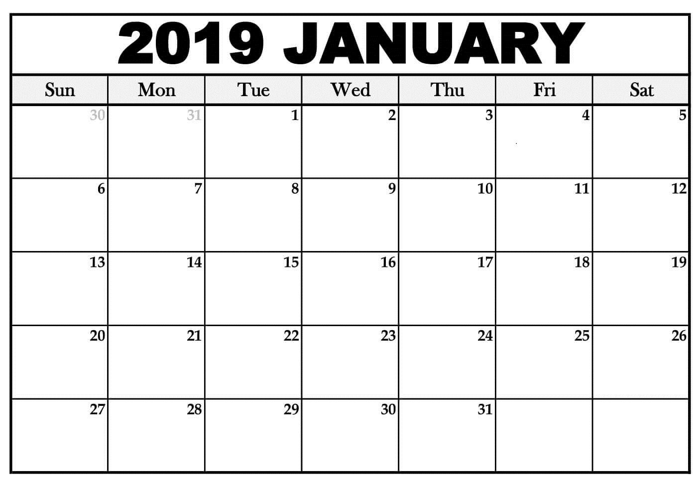 January 2019 Calendar Word Template Editable January 2019 Calendar
