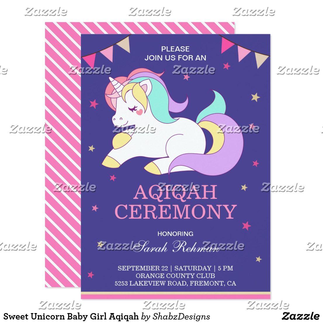 Sweet Unicorn Baby Girl Aqiqah Invitation