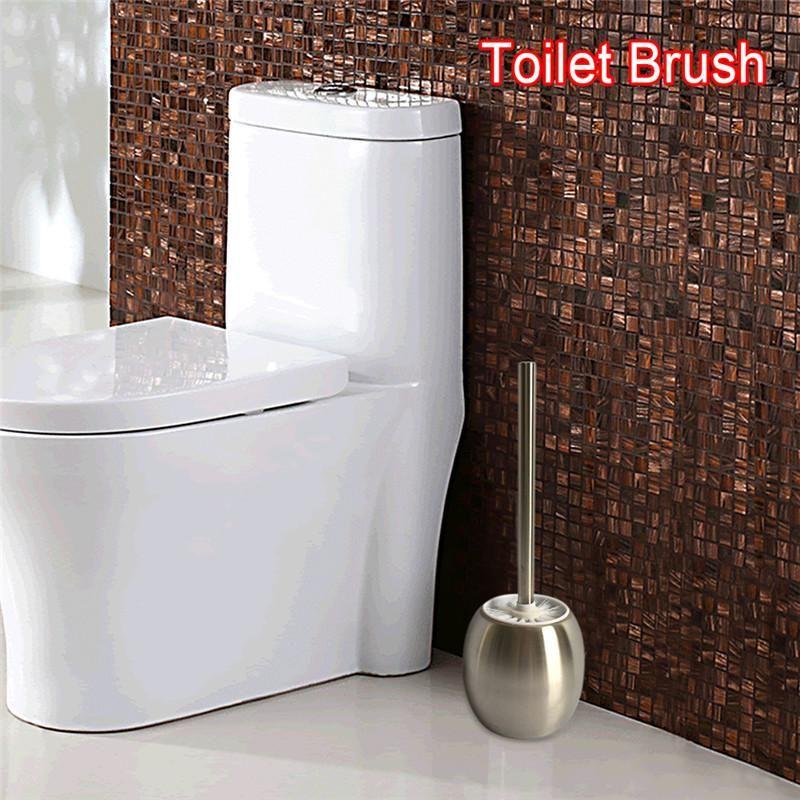 WC Brush Set Stainless Steel Toilet Brush holder Single-Pole Cleaner ...