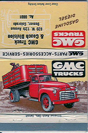 1950 S Gmc Truck Dealership Denver Colorado Matchbook Gmc