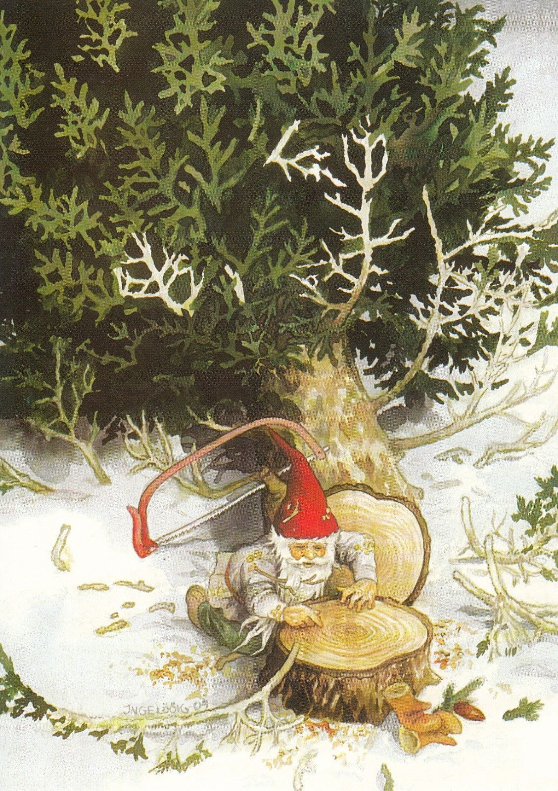 Set of gnome postcards