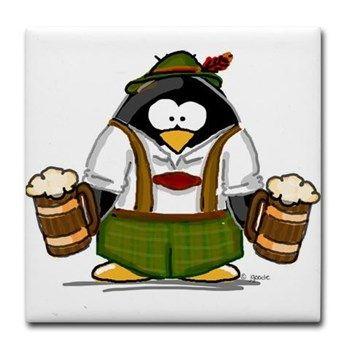 Oktoberfest Boy Penguin Tile Coaster