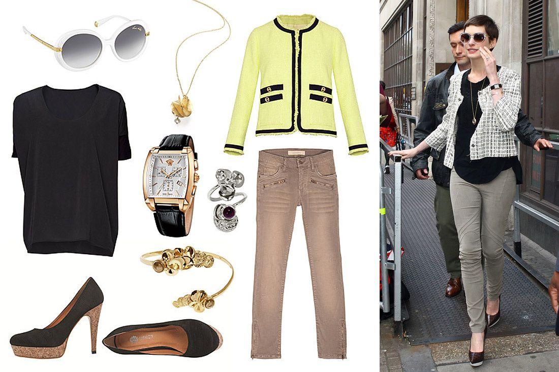 Get the look: El encanto de Anne Hathaway    Te decimos cómo lograr este look para que te veas súper chic como la protagonista de Batman: El Caballero de la Noche Asciende. El estilo de Anne es sencillo; sin embargo, se compone de elementos modernos y elegantes que lo hacen detacar. ¡Inspírate en ella!