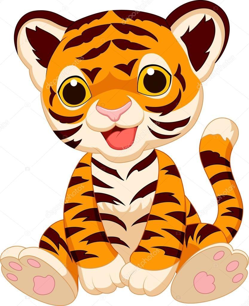 Descargar Caricatura Lindo Bebe Tigre Ilustracion De Stock