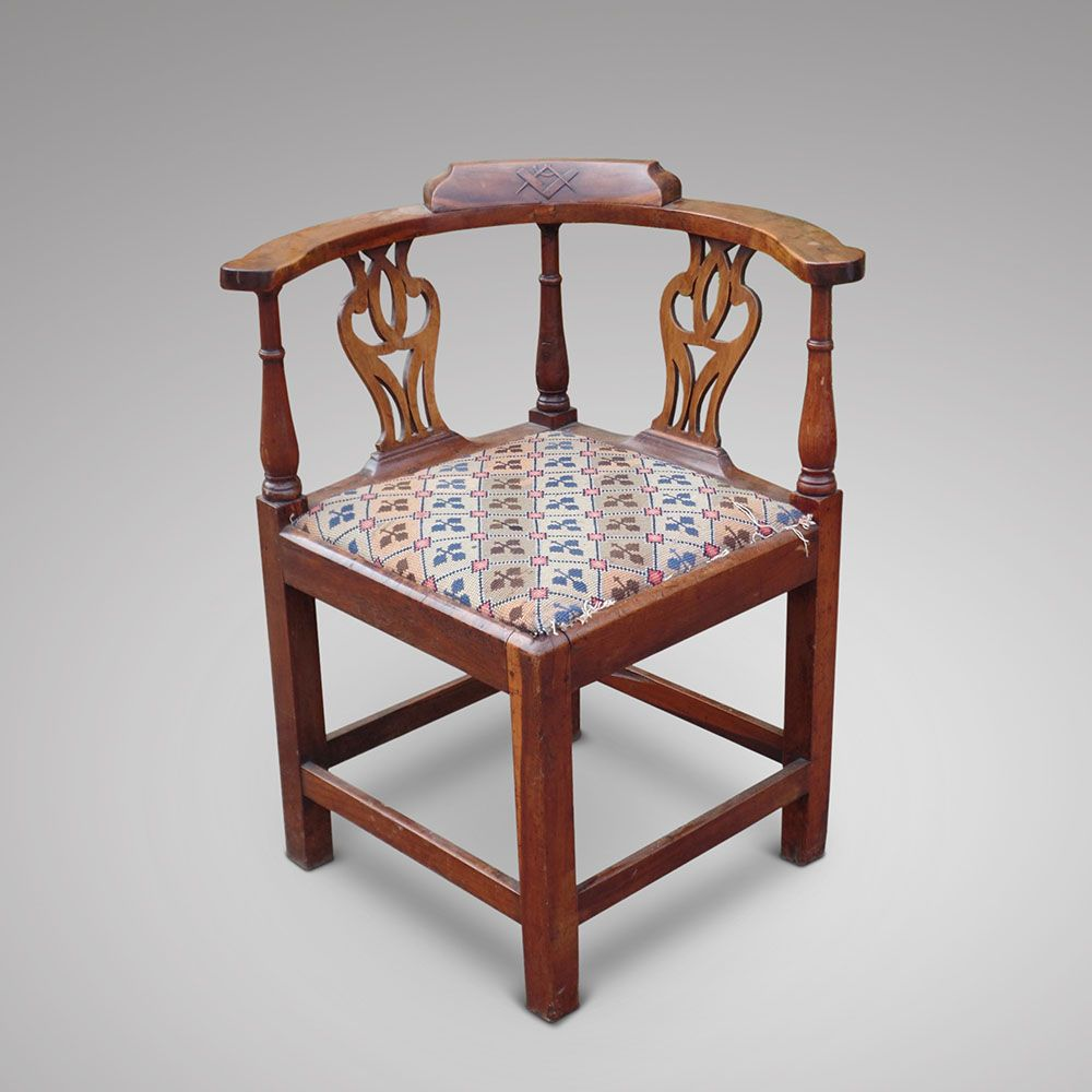 A Rare Yew Wood Corner Chair, Ca. 1760 80