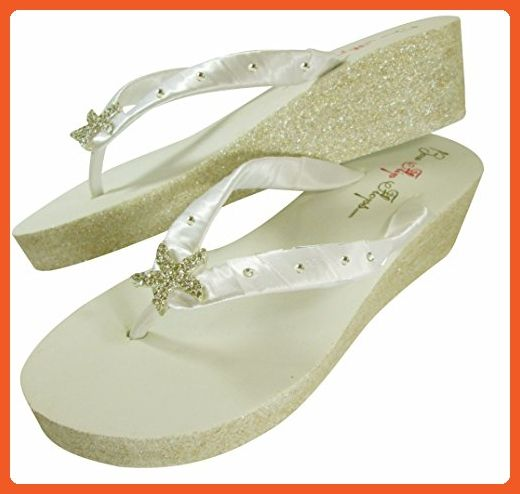 1165f5238 2 inch Ivory Flip Flops Starfish Swarovski Rhinestone Glitter Wedge Heel in  Gold Bling - Sandals for women ( Amazon Partner-Link)