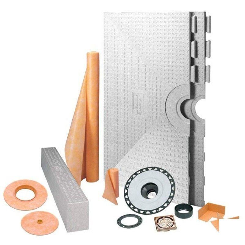 "KERDI-SHOWER-KIT 48"" X 48"" Center Drain Tray Brushed Bronze Anodized Aluminum Grate - ABS Flange"