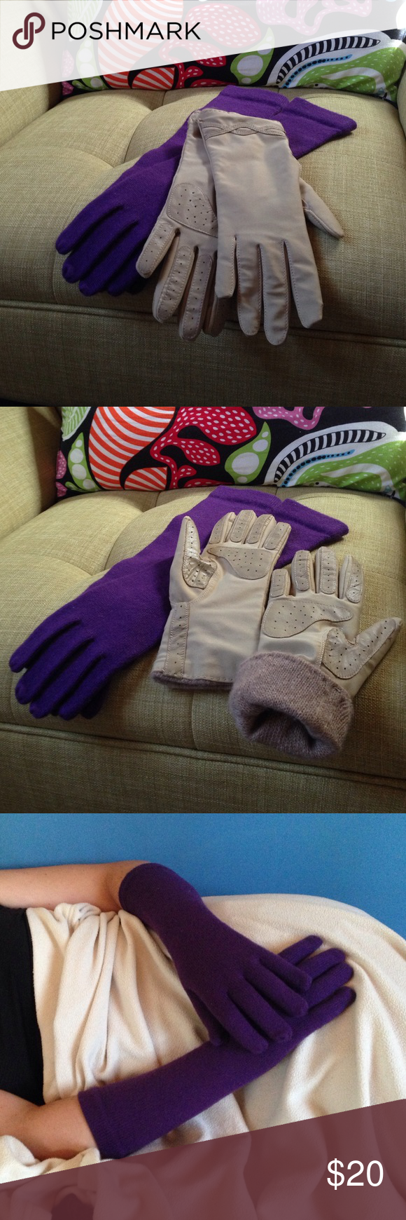 Gloves - Two Pairs Both pairs are new and one size fits most.  The Fownes brand, tan pair,  have a comfortable stretchy nylon/spandex outer with 100% cashmere lining.  Reinforced palm and finger pads make for good gripping. There is a decorative criss-cross pattern on the front.  The   Aris brand purple pair are of soft acrylic/nylon blend. They extend to near the elbow to keep those wrists warm during cold days or complete a winter dress up princess! Accessories Gloves & Mittens