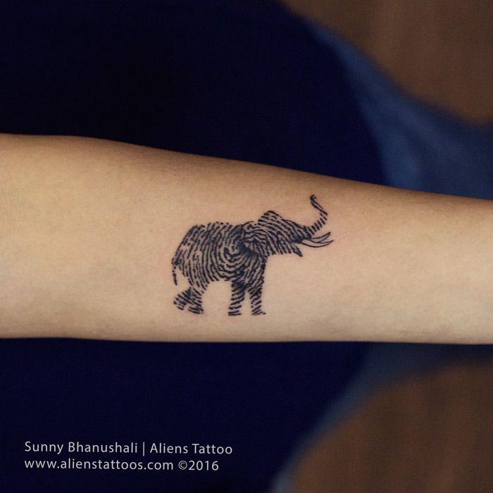 Elephant with thumb print Tattoo – Tattoos in Mumbai