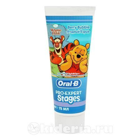 Oral-B Stages, Зубная паста Fruity  — 177р. -------------------- Детская зубная паста Oral-B Stages Fruity     75мл. Детская зубная паста Stages с небольшим содержанием фтора и  вкусом    фруктовой жевательной резинки (без содержания сахара)  поможетсохранить здоровые    и красивые улыбки Ваших детей. Характеристики: Содержит 0.11% фторида натрия, который    эффективнозащищает детские зубы от кариеса. Малоабразивный состав    нежно очищает и не травмирует детские зубы и десны Гелевая.Дети до…