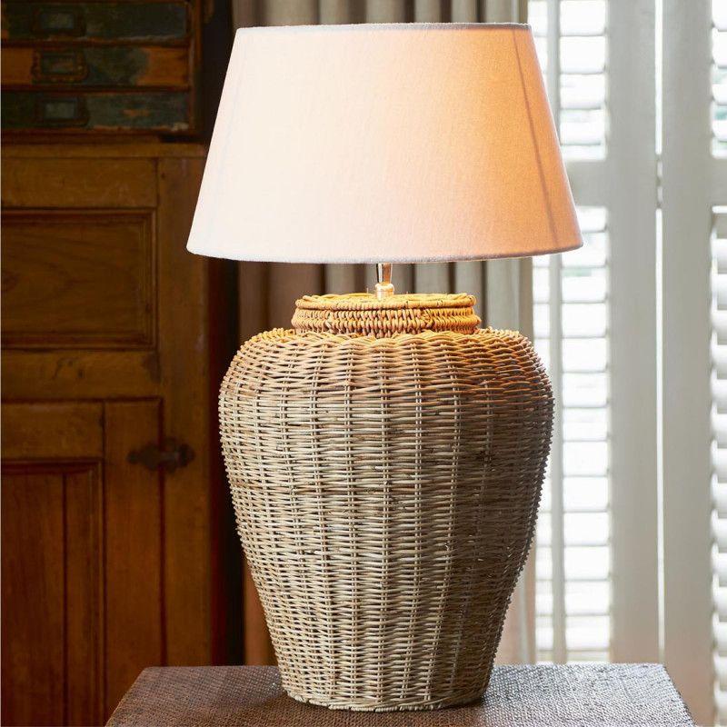Rustic Rattan Grand Lobby Lamp Base L