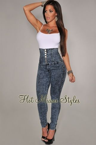 Button Up High Waisted Jeans - Jon Jean
