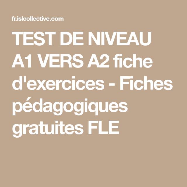 TEST DE NIVEAU A1 VERS A2 | Fiches pédagogiques, Exercices fle, Fle