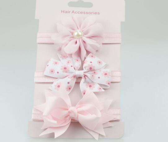 3Pc Kids Elastic Floral Headband Hair Girl baby Bowknot Accessories Hairband Set
