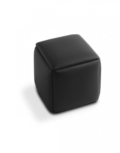Cube 5 In 1 Ottoman Seat Black Leather