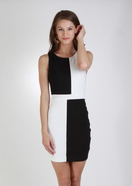 Black And White Color Block Dress Black White Dress Kieus Dresses Colorblock Dress Dresses For Work