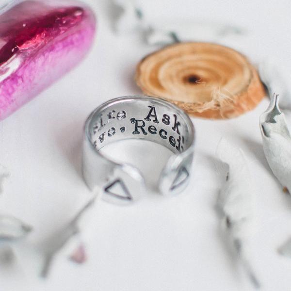 Desire, ask, believe, receive Aluminum Cuff ring | Quote Bracelets