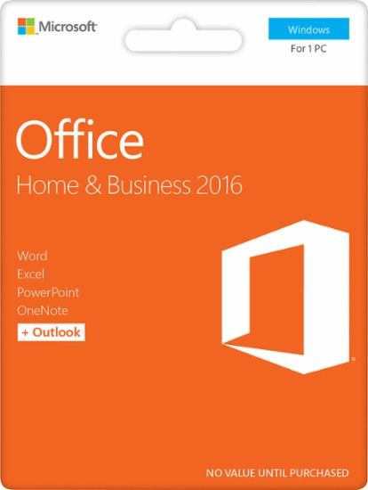 Office Home & Business 2016, 1 PC (Product Key Card) - Windows - Front Zoom