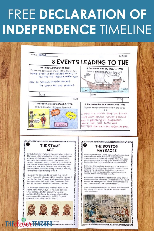 Free Declaration of Independence Timeline Activity   Social studies middle  school [ 1500 x 1000 Pixel ]