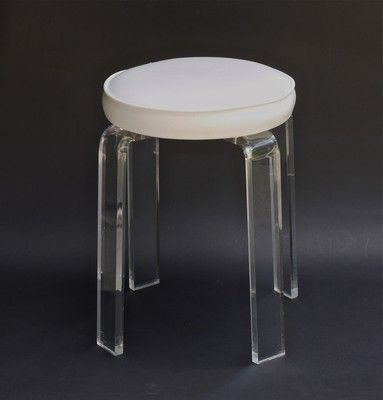 Vintage mid century modern lucite acrylic vanity stool chair stool chair vanity stool and mid - Acrylic vanity chair ...