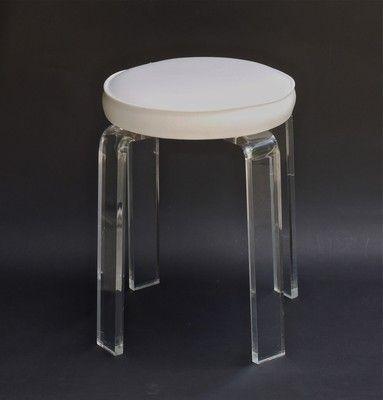 Vintage mid century modern lucite acrylic vanity stool chair stool chair vanity stool and mid - Acrylic vanity chair ...