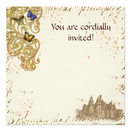 Medieval Storybook Castle Royal Invitation Card Fairy Tale Themed