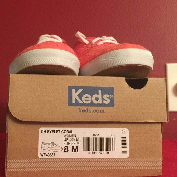 NWT Keds Coral Champion Eyelet Sneaker  New in box, never used sneakers by Keds. Color: Coral. Textile upper in casual sneaker style. Lace-up front. Canvas light with a cushioning footbed. Rubber wrapped. The original CHAMPION canvas sneaker. A clean, cool, classic style. Cotton terry lining and arch support make this comfortable KEDS canvas sneaker an undisputable wardrobe essential. keds Shoes Sneakers