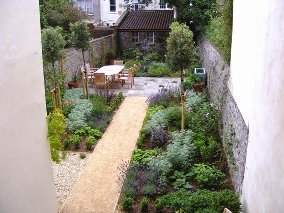 Thin garden design with outdoor room in the middle for Long thin garden designs