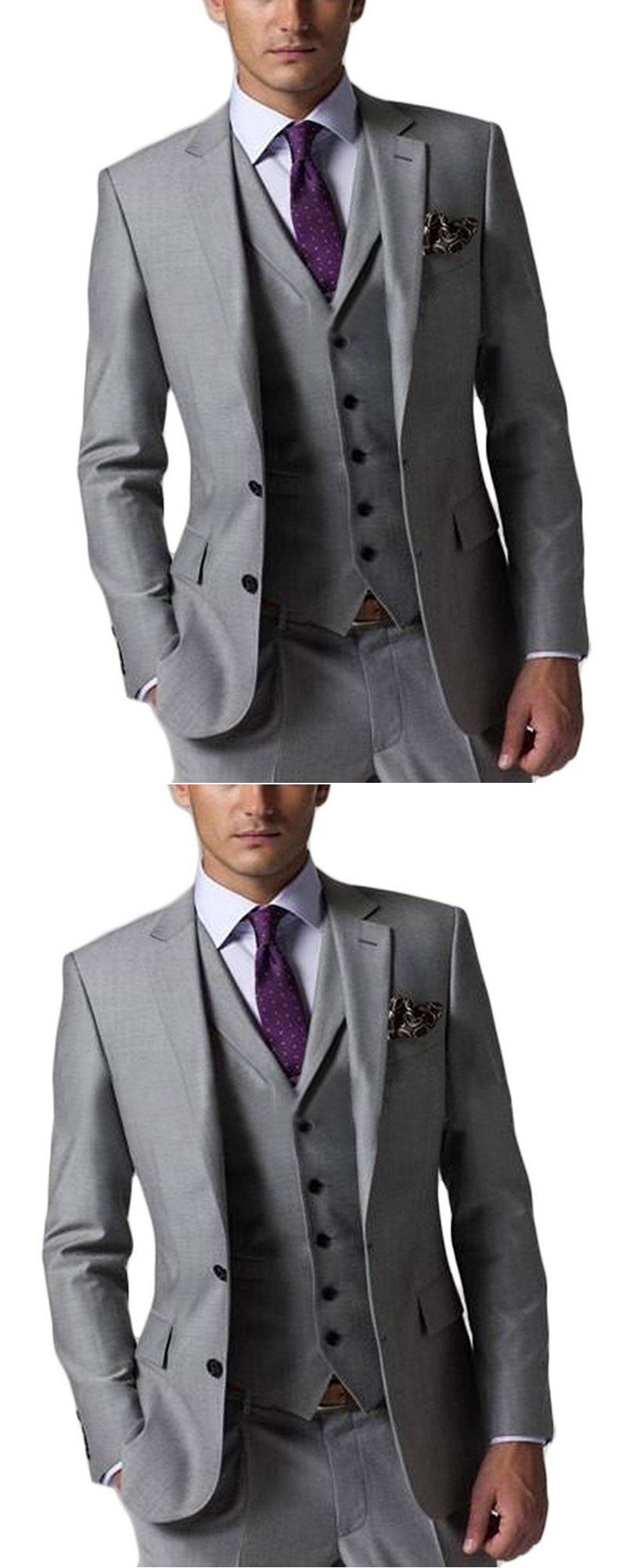 Grey business suit for men pieces groom wedding suits