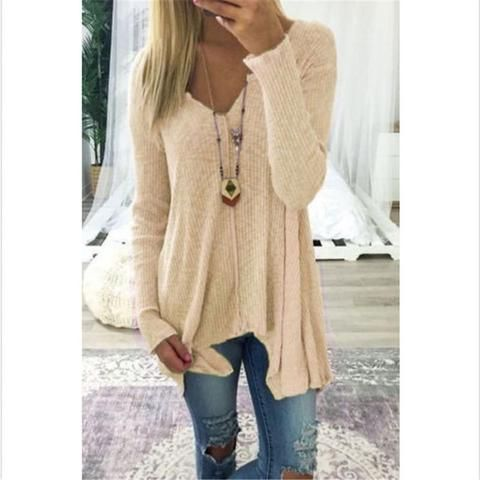 41ba08c4d572 2017 New Knitted Sweater Women V-Neck Long Sleeve Casual Loose ...