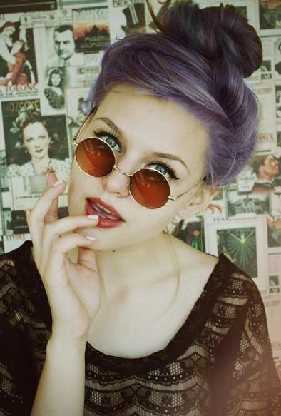 Purple-y hair.