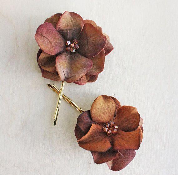 Brown Hydrangea Flower Hair Pins. Brown Flowers Hair Clip. Autumn Wedding. Fall. Rustic. Weddings,  Holiday, Sparkle. Hair Accessories.. $18.00, via Etsy.